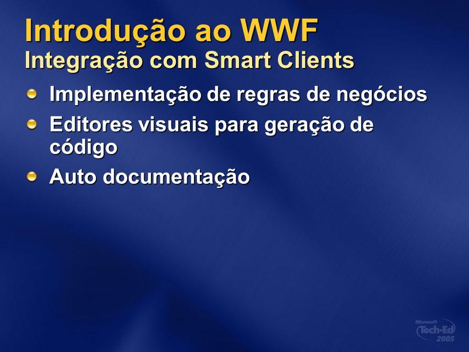 Introdução ao WWF Integração com Smart Clients Implementação de regras de negócios Editores visuais para geração de código Auto documentação