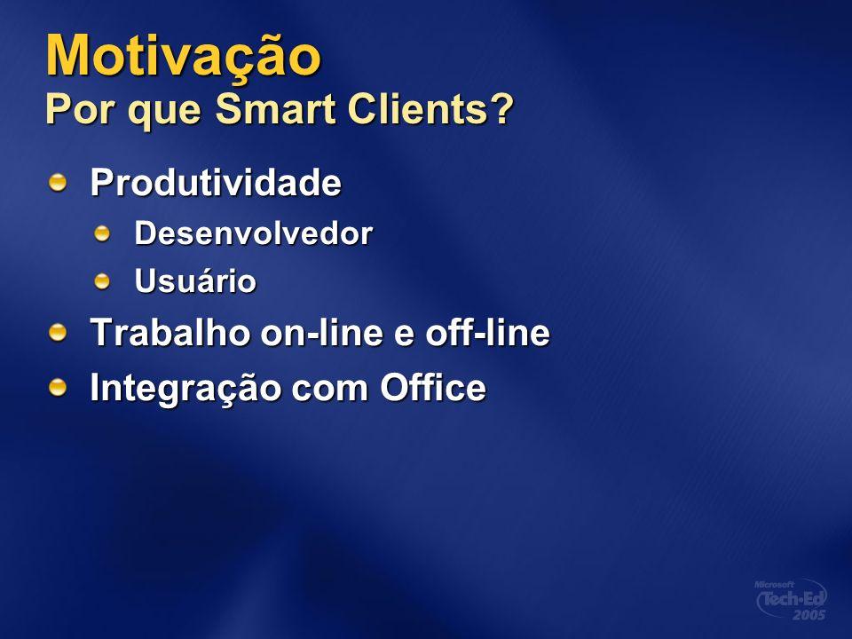 Motivação Por que Smart Clients? ProdutividadeDesenvolvedorUsuário Trabalho on-line e off-line Integração com Office