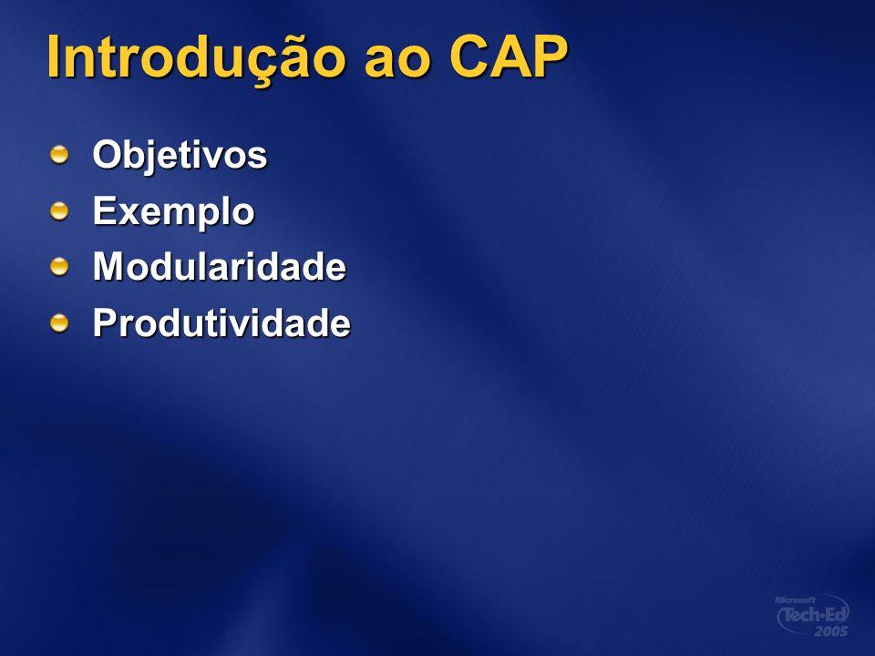 Introdução ao CAP Objetivos ModularidadeProdutividadeExtensibilidade Construção de interfaces gráficas complexas Roadmap para Windows Presentation Foundation (Avalon)