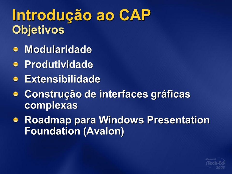 Introdução ao CAP Objetivos ModularidadeProdutividadeExtensibilidade Construção de interfaces gráficas complexas Roadmap para Windows Presentation Fou