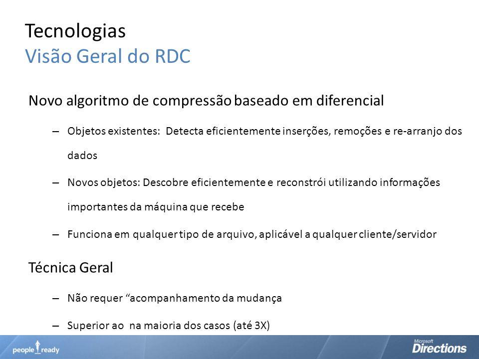 Tecnologias Visão Geral do RDC Novo algoritmo de compressão baseado em diferencial – Objetos existentes: Detecta eficientemente inserções, remoções e