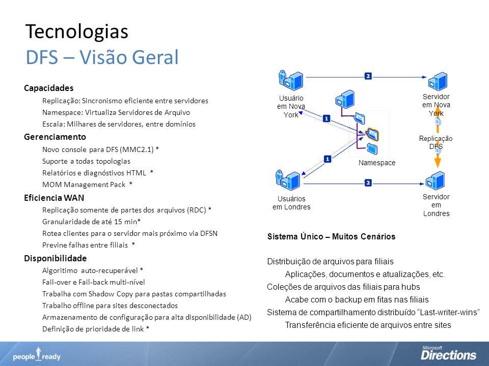 Tecnologias DFS – Visão Geral Capacidades Replicação: Sincronismo eficiente entre servidores Namespace: Virtualiza Servidores de Arquivo Escala: Milha