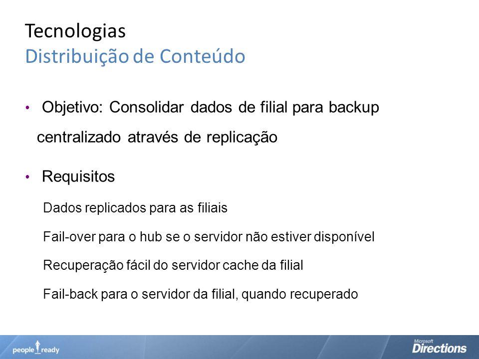 Tecnologias Distribuição de Conteúdo Objetivo: Consolidar dados de filial para backup centralizado através de replicação Requisitos Dados replicados p