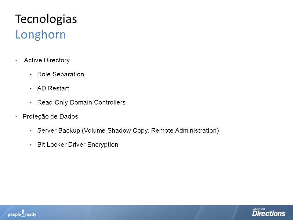 Tecnologias Longhorn Active Directory Role Separation AD Restart Read Only Domain Controllers Proteção de Dados Server Backup (Volume Shadow Copy, Rem