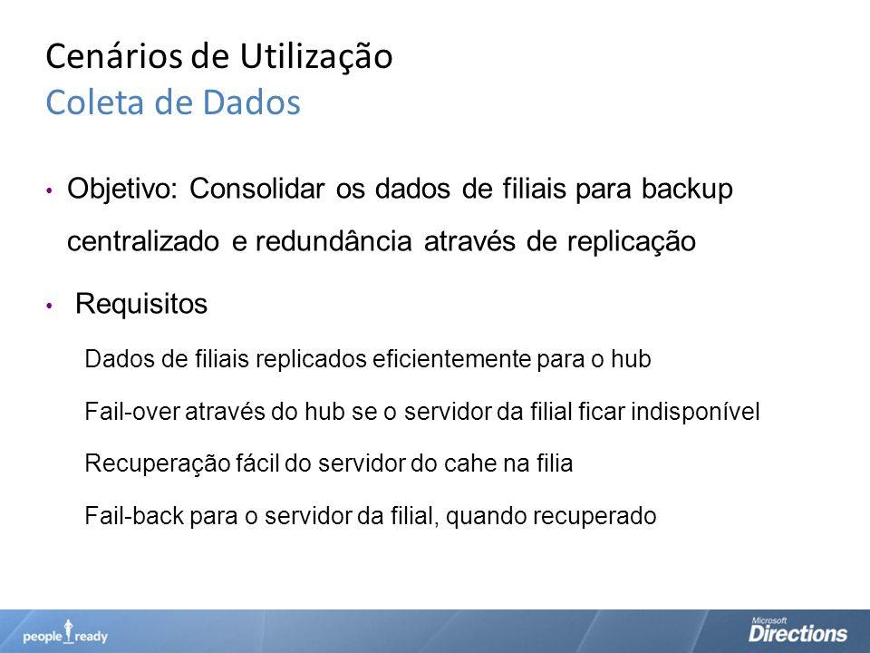 Cenários de Utilização Coleta de Dados Objetivo: Consolidar os dados de filiais para backup centralizado e redundância através de replicação Requisito