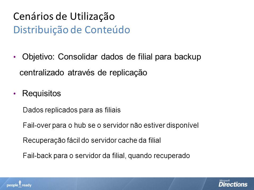 Cenários de Utilização Distribuição de Conteúdo Objetivo: Consolidar dados de filial para backup centralizado através de replicação Requisitos Dados r