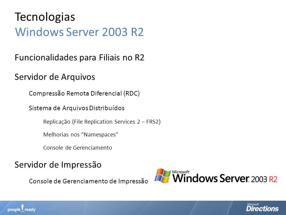 Tecnologias Windows Server 2003 R2 Funcionalidades para Filiais no R2 Servidor de Arquivos Compressão Remota Diferencial (RDC) Sistema de Arquivos Dis