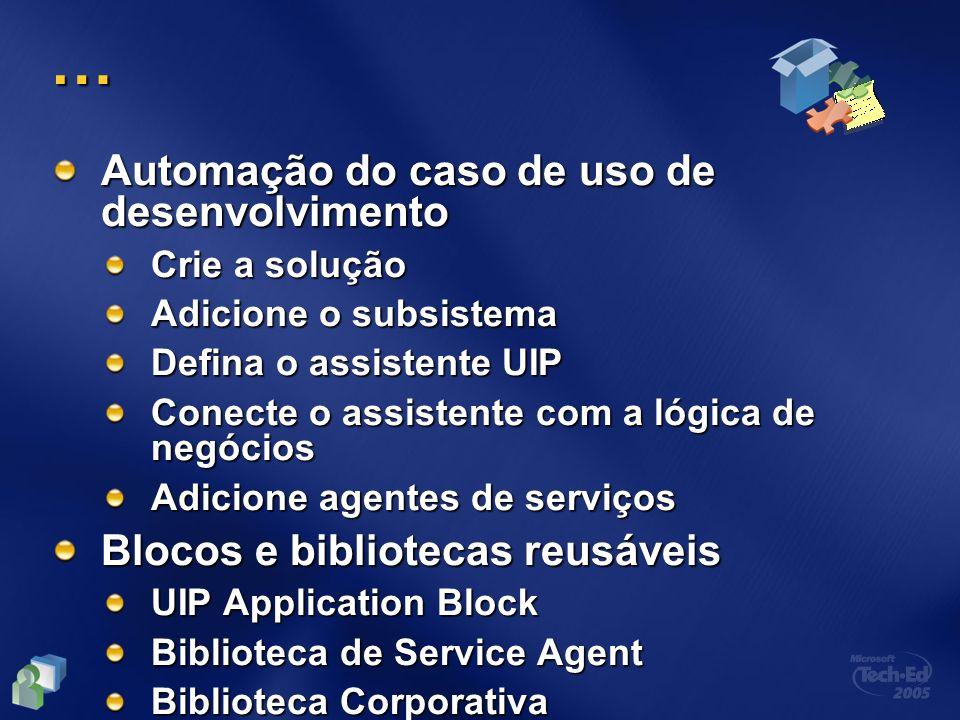 … Automação do caso de uso de desenvolvimento Crie a solução Adicione o subsistema Defina o assistente UIP Conecte o assistente com a lógica de negóci