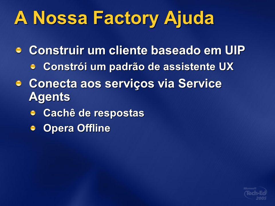 A Nossa Factory Ajuda Construir um cliente baseado em UIP Constrói um padrão de assistente UX Conecta aos serviços via Service Agents Cachê de respost