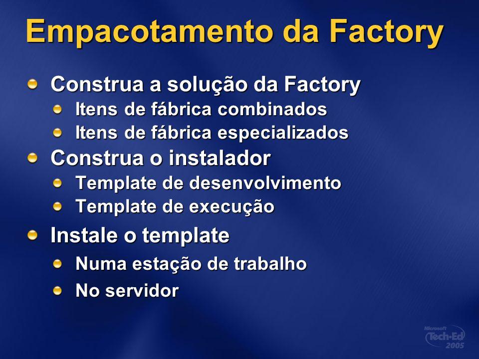 Empacotamento da Factory Construa a solução da Factory Itens de fábrica combinados Itens de fábrica especializados Construa o instalador Template de d