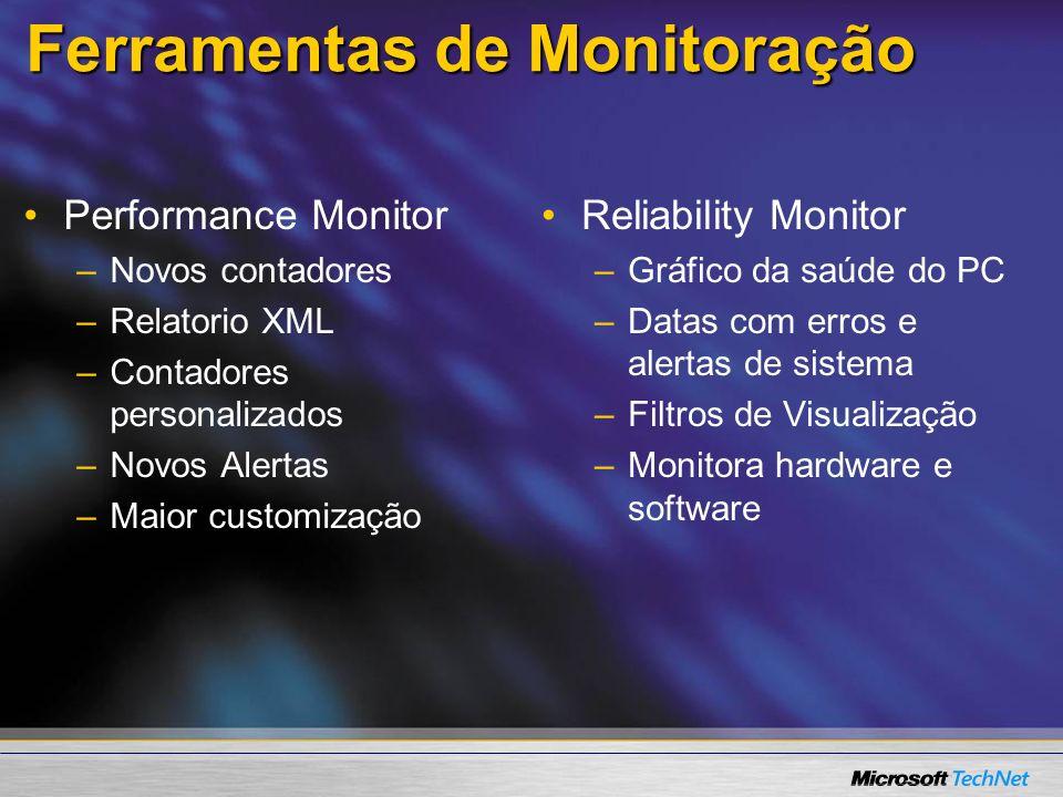 Ferramentas de Monitoração Performance Monitor – –Novos contadores – –Relatorio XML – –Contadores personalizados – –Novos Alertas – –Maior customizaçã