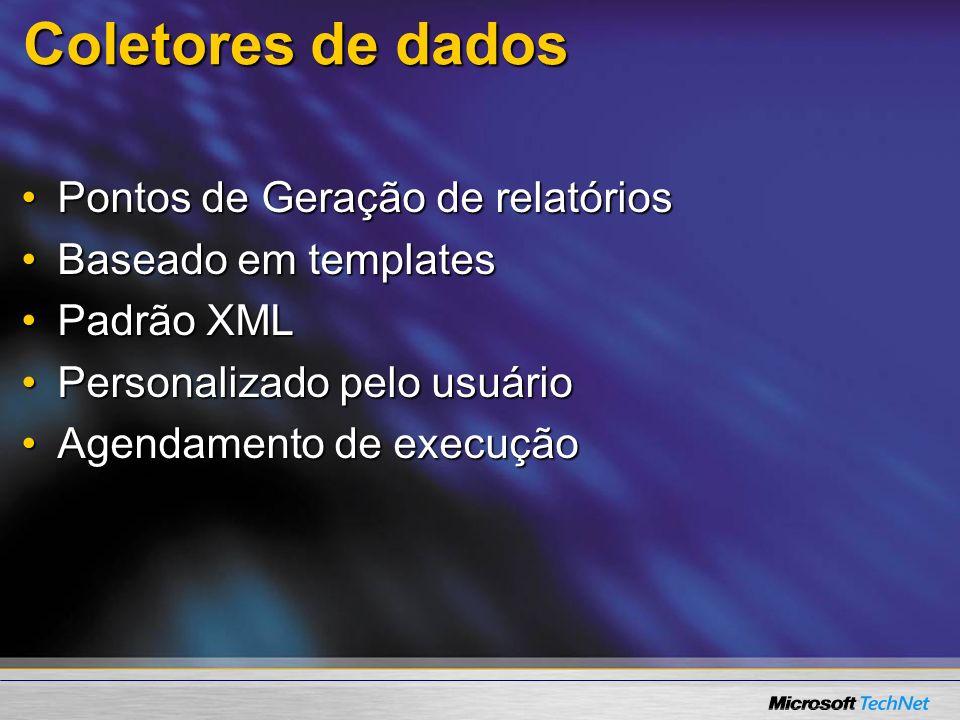 Coletores de dados Pontos de Geração de relatóriosPontos de Geração de relatórios Baseado em templatesBaseado em templates Padrão XMLPadrão XML Person