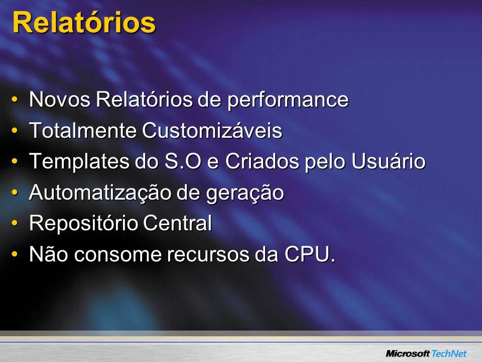 Relatórios Novos Relatórios de performanceNovos Relatórios de performance Totalmente CustomizáveisTotalmente Customizáveis Templates do S.O e Criados