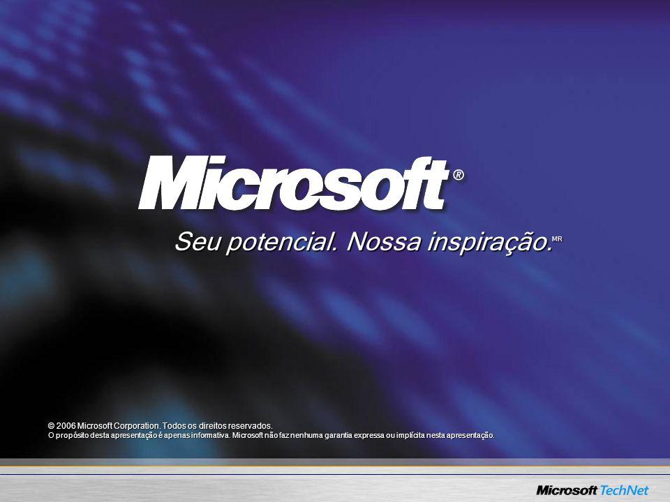 © 2006 Microsoft Corporation. Todos os direitos reservados. O propósito desta apresentação é apenas informativa. Microsoft não faz nenhuma garantia ex