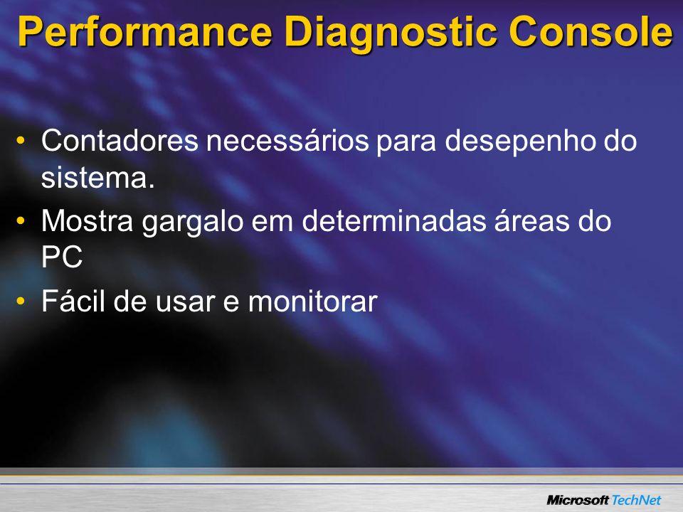 Performance Diagnostic Console Contadores necessários para desepenho do sistema. Mostra gargalo em determinadas áreas do PC Fácil de usar e monitorar
