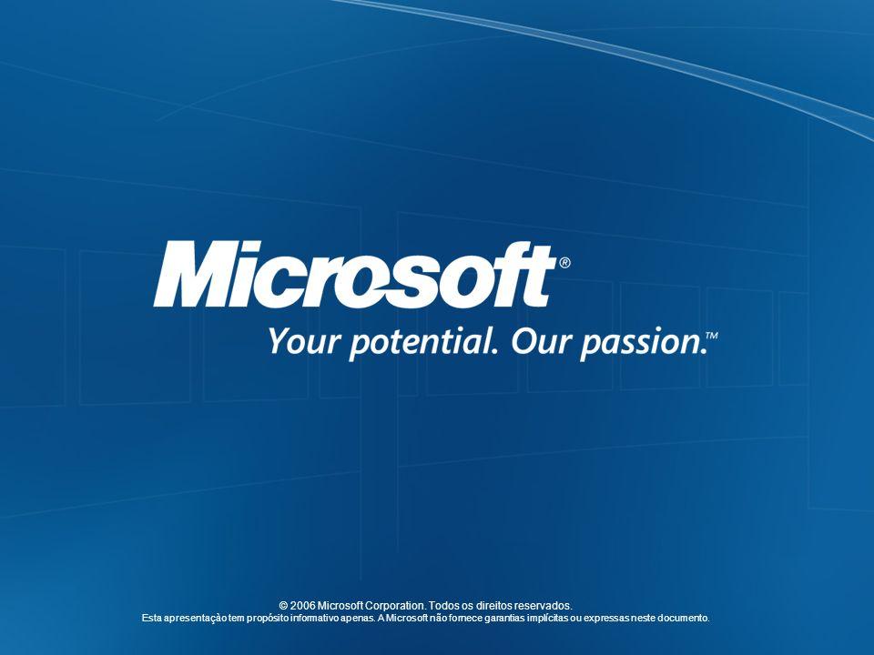 © 2006 Microsoft Corporation. Todos os direitos reservados. Esta apresentaçào tem propósito informativo apenas. A Microsoft não fornece garantias impl