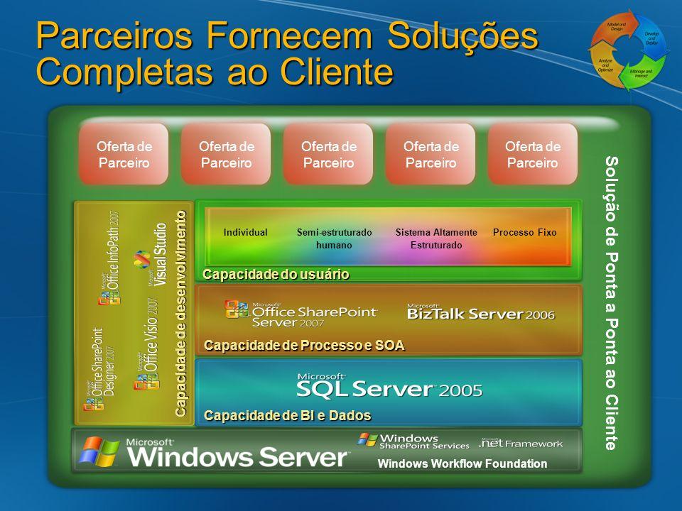 Parceiros Fornecem Soluções Completas ao Cliente Windows Workflow Foundation Capacidade do usuário Capacidade de BI e Dados Capacidade de Processo e S