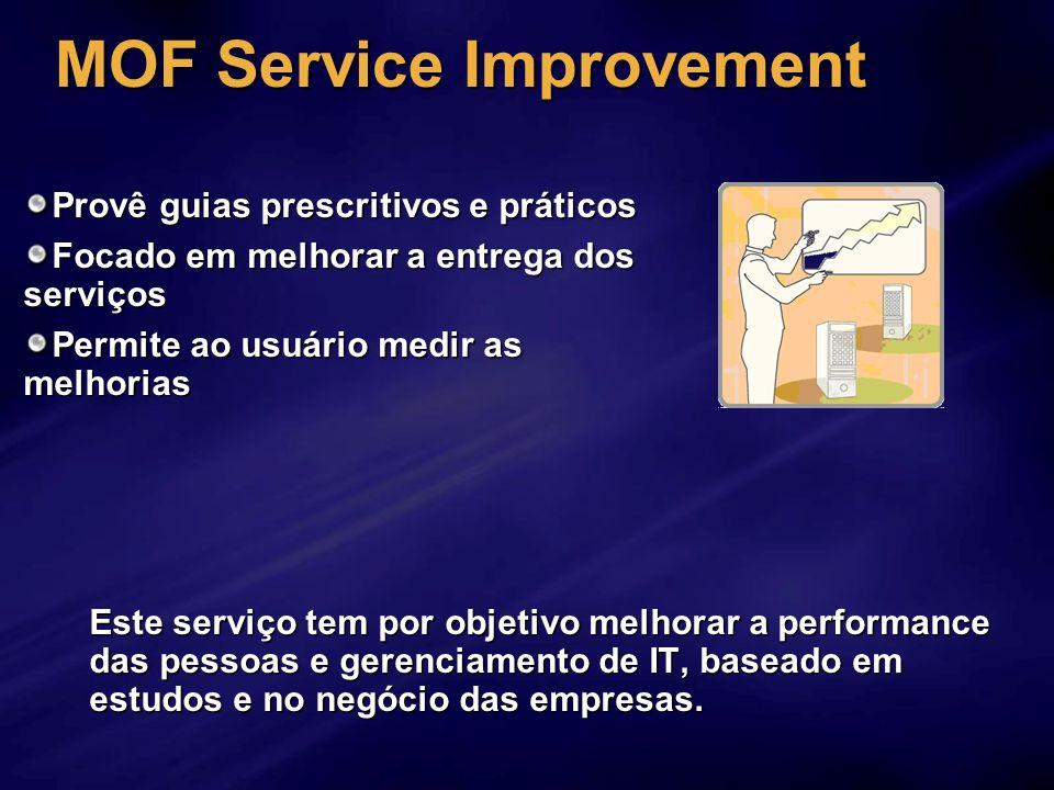 MOF Service Improvement Este serviço tem por objetivo melhorar a performance das pessoas e gerenciamento de IT, baseado em estudos e no negócio das em