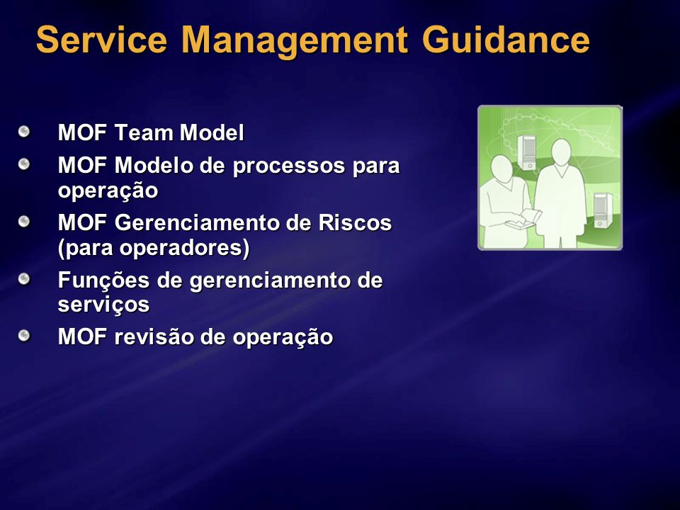 Service Management Guidance MOF Team Model MOF Modelo de processos para operação MOF Gerenciamento de Riscos (para operadores) Funções de gerenciament