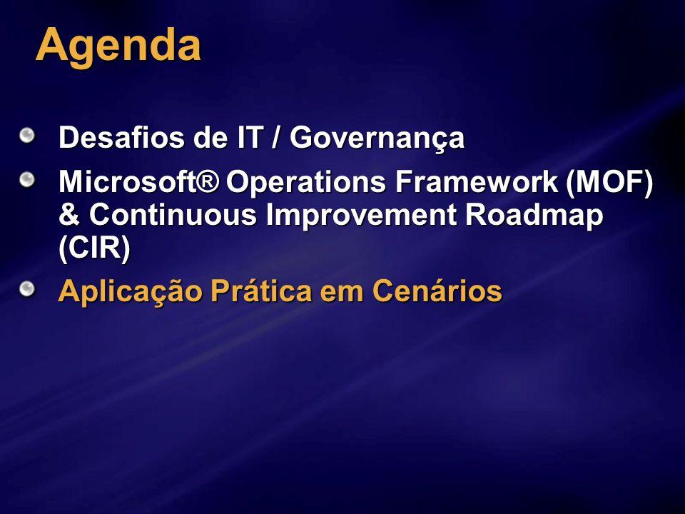 Agenda Desafios de IT / Governança Microsoft® Operations Framework (MOF) & Continuous Improvement Roadmap (CIR) Aplicação Prática em Cenários