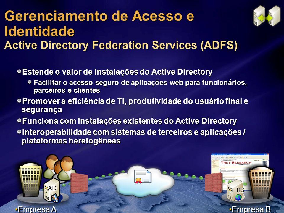 Gerenciamento de Acesso e Identidade Active Directory Federation Services (ADFS) Estende o valor de instalações do Active Directory Facilitar o acesso