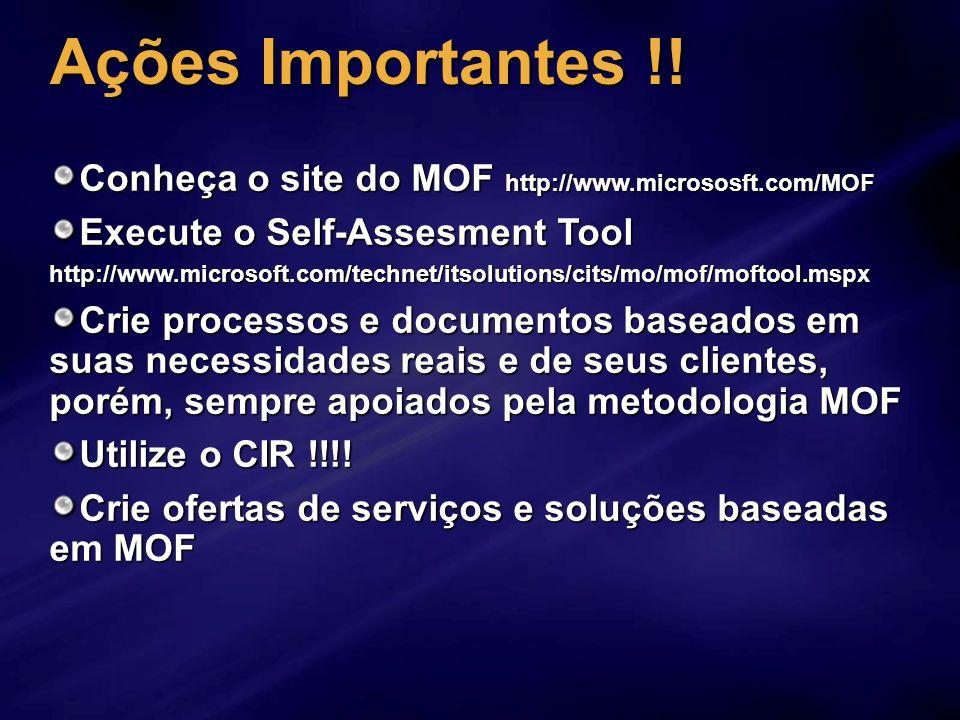 Ações Importantes !! Conheça o site do MOF http://www.micrososft.com/MOF Execute o Self-Assesment Tool http://www.microsoft.com/technet/itsolutions/ci