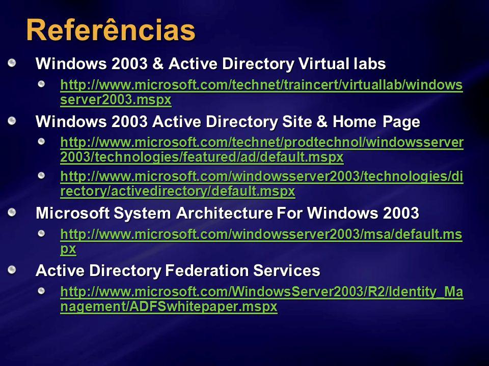 Referências Windows 2003 & Active Directory Virtual labs http://www.microsoft.com/technet/traincert/virtuallab/windows server2003.mspx http://www.micr