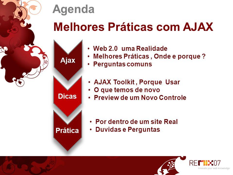 Agenda Melhores Práticas com AJAX Ajax Web 2.0 uma Realidade Melhores Práticas, Onde e porque ? Perguntas comuns Dicas AJAX Toolkit, Porque Usar O que