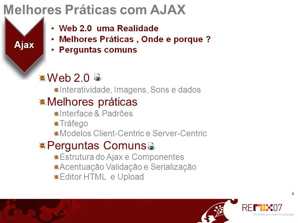4 Melhores Práticas com AJAX Web 2.0 Interatividade, Imagens, Sons e dados Melhores práticas Interface & Padrões Tráfego Modelos Client-Centric e Serv