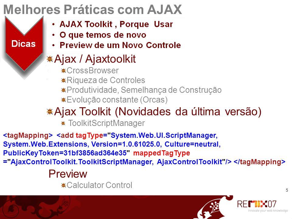 Ajax / Ajaxtoolkit CrossBrowser Riqueza de Controles Produtividade, Semelhança de Construção Evolução constante (Orcas) Ajax Toolkit (Novidades da últ