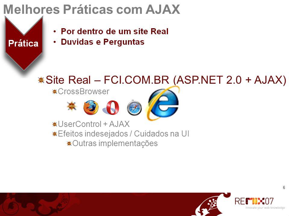 Site Real – FCI.COM.BR (ASP.NET 2.0 + AJAX) CrossBrowser UserControl + AJAX Efeitos indesejados / Cuidados na UI Outras implementações 6 Melhores Prát