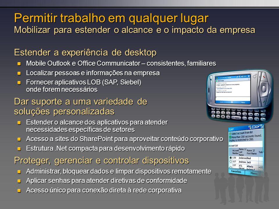 Permitir trabalho em qualquer lugar Mobilizar para estender o alcance e o impacto da empresa Estender a experiência de desktop Mobile Outlook e Office