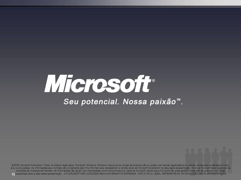 © 2006 Microsoft Corporation. Todos os direitos reservados. Microsoft, Windows, Windows Vista e outros nomes de produtos são ou podem ser marcas regis