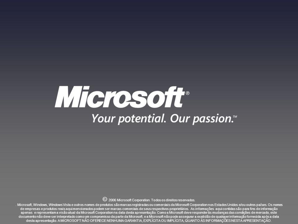 © 2006 Microsoft Corporation. Todos os direitos reservados.. Microsoft, Windows, Windows Vista e outros nomes de produtos são marcas registradas ou co