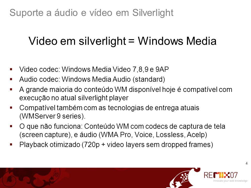 5 Suporte a áudio e vídeo em Silverlight VC-1 e Windows Media 9 VC-1 é um padrão aberto de vídeo criado pela Microsoft (como o h264 ou MPEG-2) Padronizado pela SMPTE Codec WM9 = VC-1 Presente em especificações de discos hi-def.