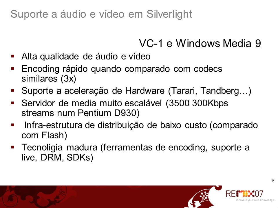 7 Pré-processamento de áudio e vídeo Captura Capture bitstreams nativos ou sem compressão DV, DVCPRO HD (100Mbps) Outros formatos – uncompressed DV bridges para capturar analógico introduzem artefatos (use apenas se o destino é <450Kbps) Vá direto à fonte.