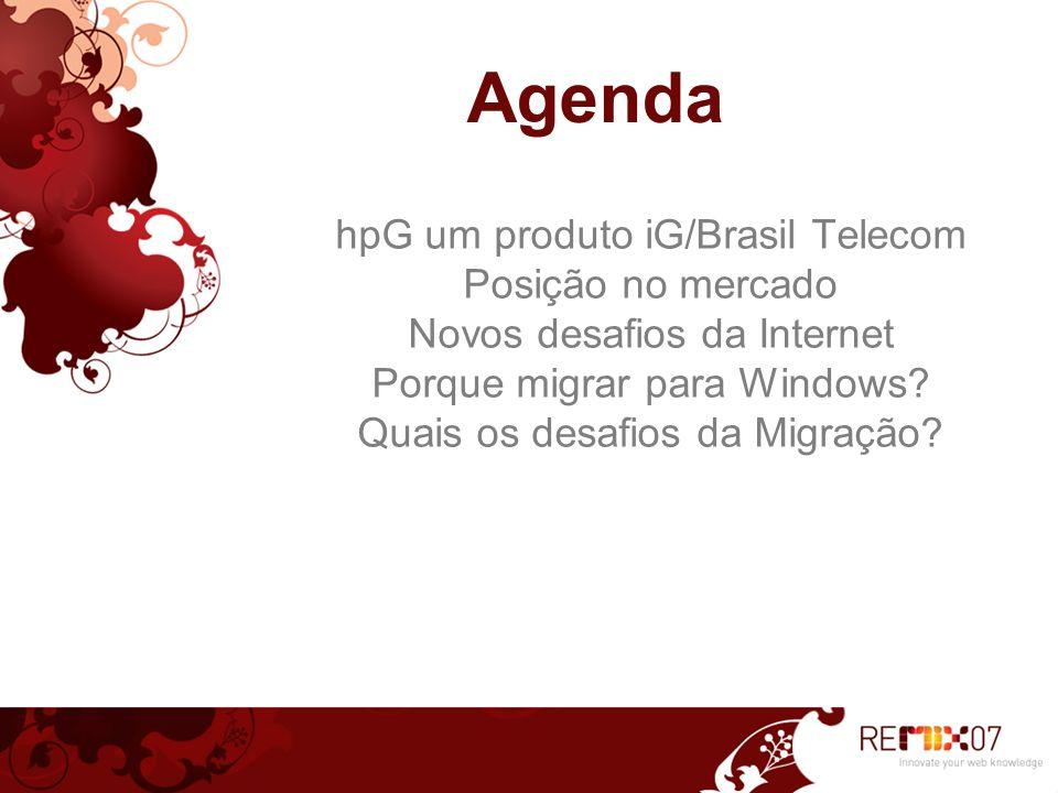 4 hpG um produto iG/Brasil Telecom Unidade de internet da Brasil Telecom Maior provedor de acesso discado da AL - 4MM+ Segundo maior provedor de banda larga no Brasil - 1,2MM+ Mais de 300 mil assinantes de SVAs Portal com uma das maiores audiências na internet brasileira