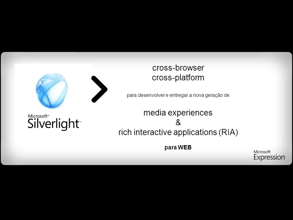 cross-browser cross-platform para desenvolver e entregar a nova geração de media experiences & rich interactive applications (RIA) para WEB