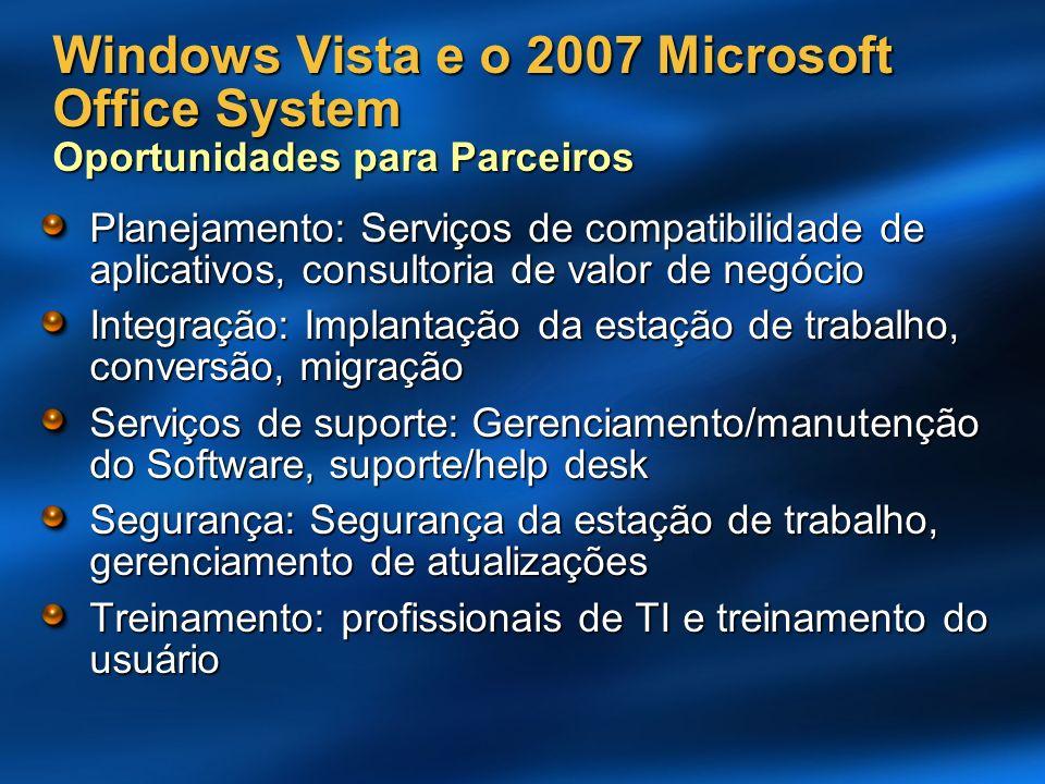 Windows Vista e o 2007 Microsoft Office System Oportunidades para Parceiros Planejamento: Serviços de compatibilidade de aplicativos, consultoria de v