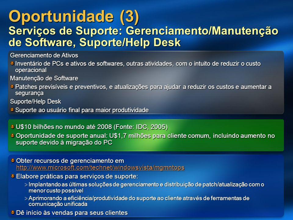Oportunidade (3) Serviços de Suporte: Gerenciamento/Manutenção de Software, Suporte/Help Desk Gerenciamento de Ativos Inventário de PCs e ativos de so
