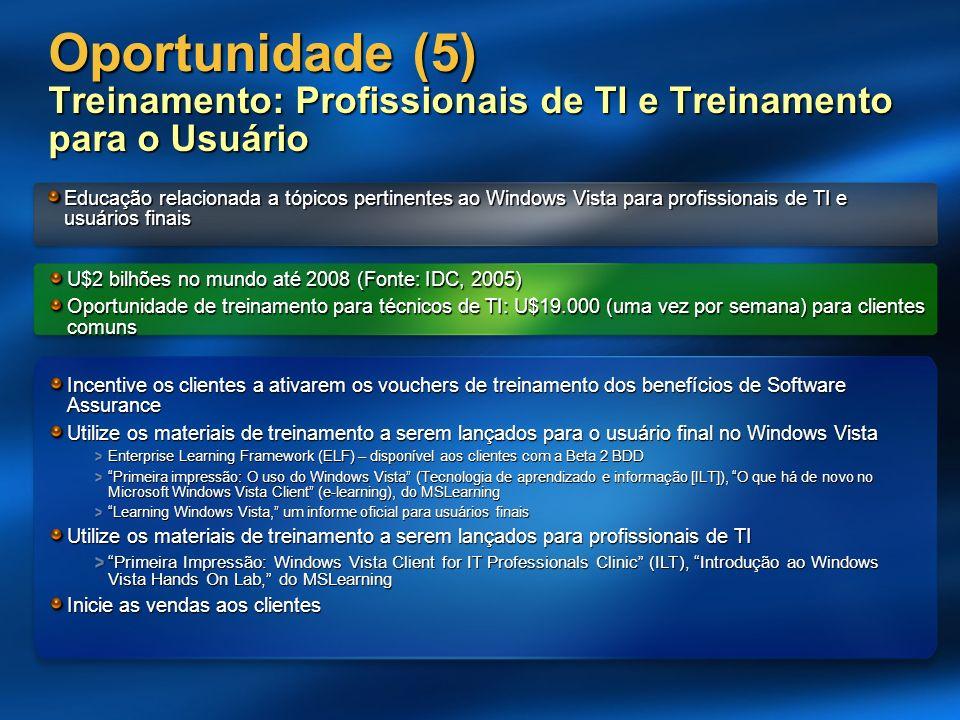 Oportunidade (5) Treinamento: Profissionais de TI e Treinamento para o Usuário Educação relacionada a tópicos pertinentes ao Windows Vista para profis