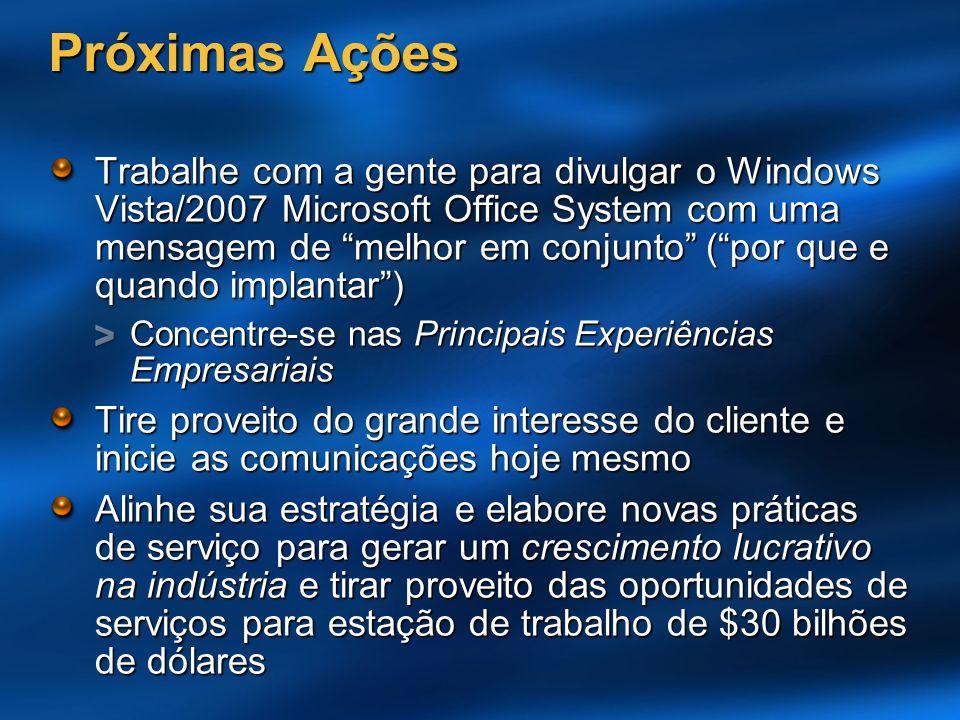 Próximas Ações Trabalhe com a gente para divulgar o Windows Vista/2007 Microsoft Office System com uma mensagem de melhor em conjunto (por que e quand