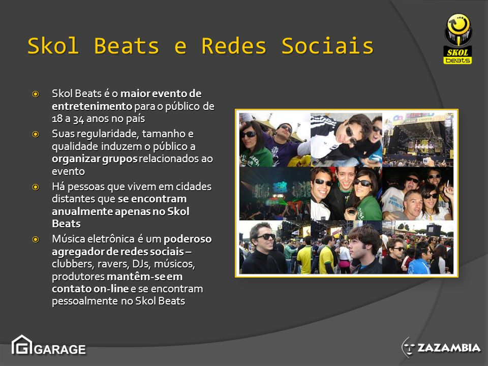 Skol Beats e Redes Sociais Skol Beats é o maior evento de entretenimento para o público de 18 a 34 anos no país Skol Beats é o maior evento de entrete