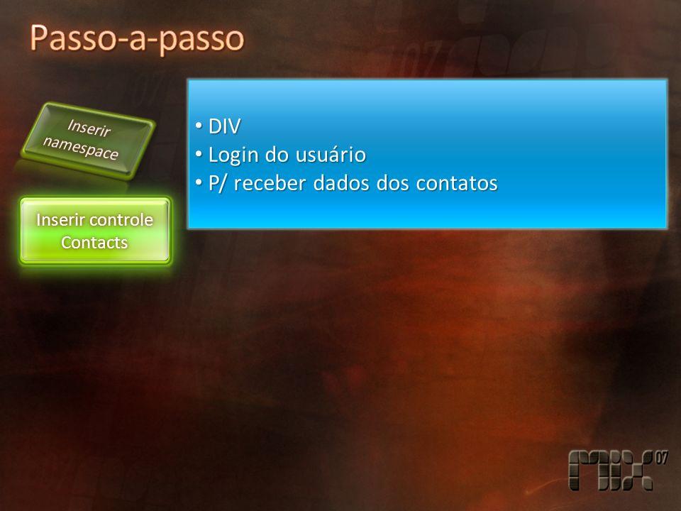 DIV DIV Login do usuário Login do usuário P/ receber dados dos contatos P/ receber dados dos contatos Inserir controle Contacts
