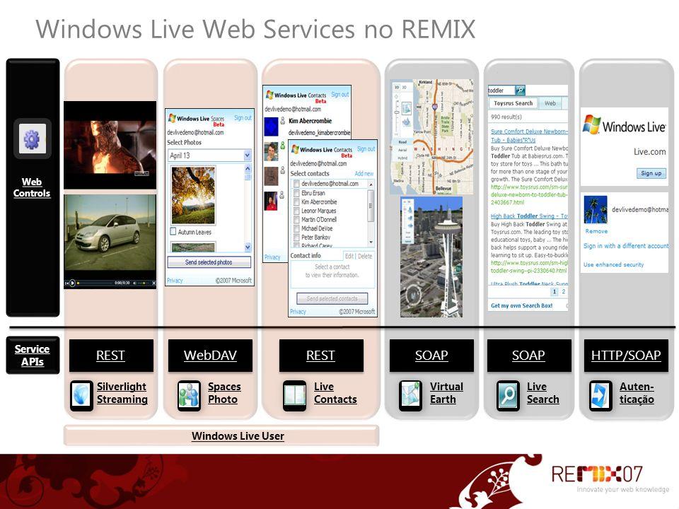 Links e recursos Tudo sobre a plataforma Windows Live http://dev.live.com Termos de uso http://dev.live.com/terms Live in a Box http://www.codeplex.com/liveinabox