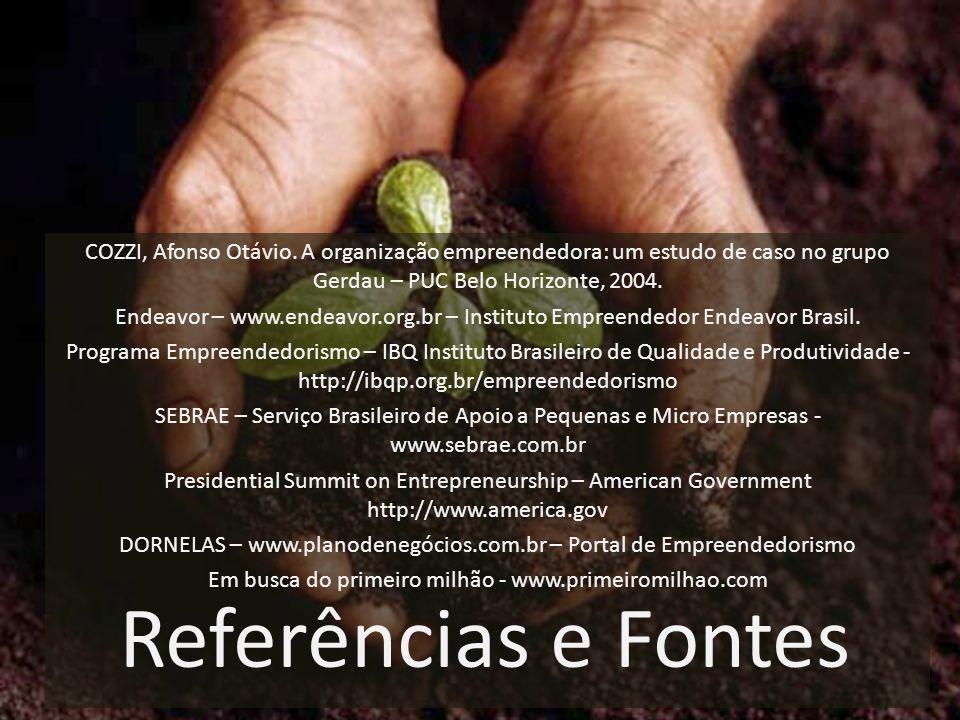 COZZI, Afonso Otávio. A organização empreendedora: um estudo de caso no grupo Gerdau – PUC Belo Horizonte, 2004. Endeavor – www.endeavor.org.br – Inst