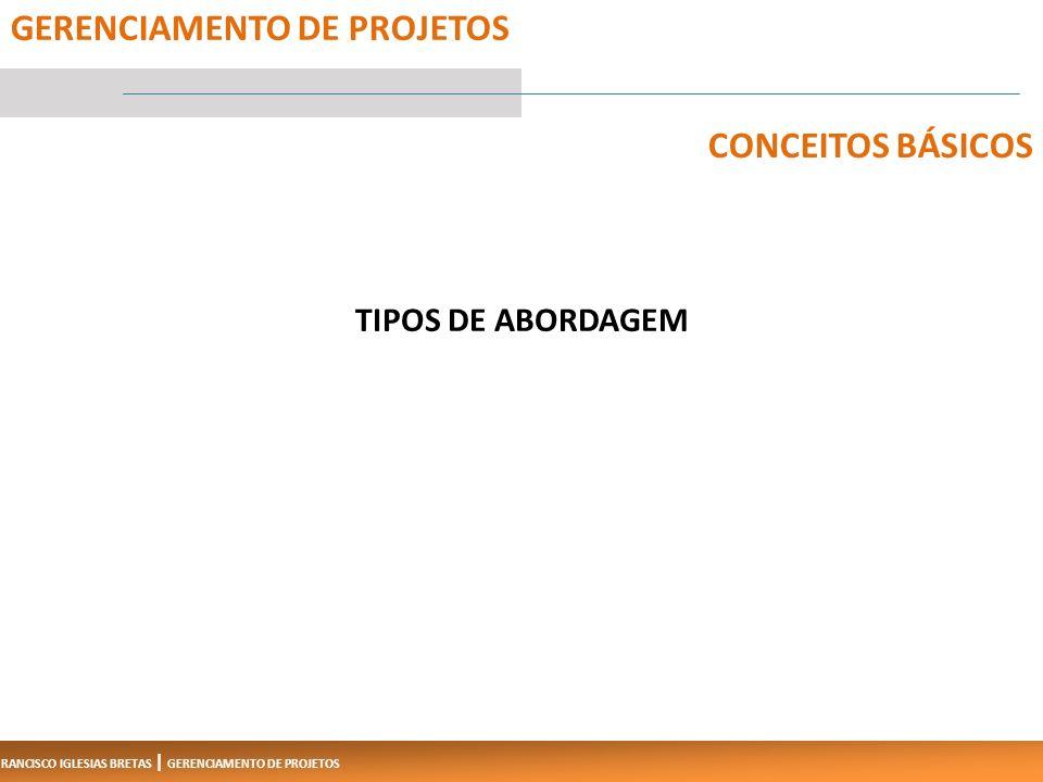 FRANCISCO IGLESIAS BRETAS | GERENCIAMENTO DE PROJETOS TIPOS DE ABORDAGEM 5 GERENCIAMENTO DE PROJETOS CONCEITOS BÁSICOS