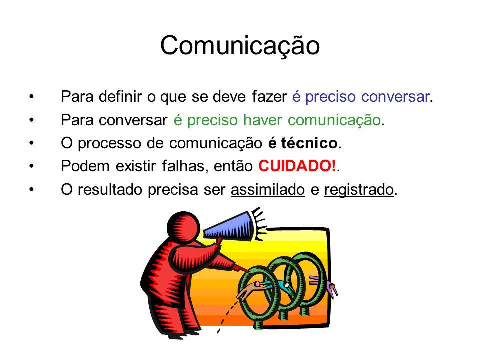 Comunicação Para definir o que se deve fazer é preciso conversar. Para conversar é preciso haver comunicação. O processo de comunicação é técnico. Pod