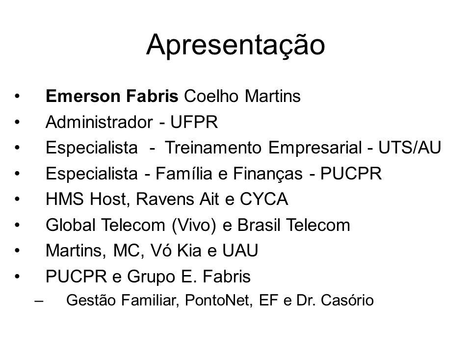 Apresentação Emerson Fabris Coelho Martins Administrador - UFPR Especialista - Treinamento Empresarial - UTS/AU Especialista - Família e Finanças - PU