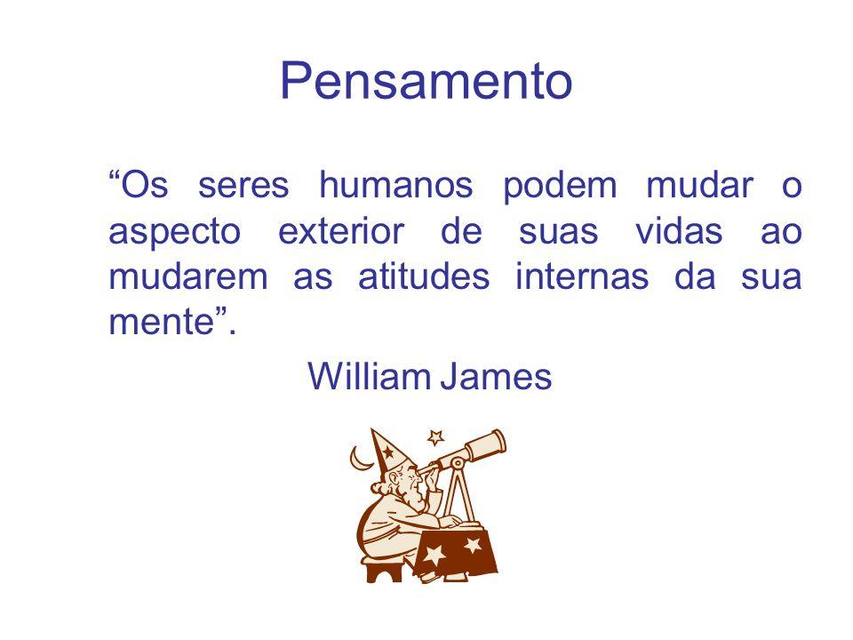 Pensamento Os seres humanos podem mudar o aspecto exterior de suas vidas ao mudarem as atitudes internas da sua mente. William James